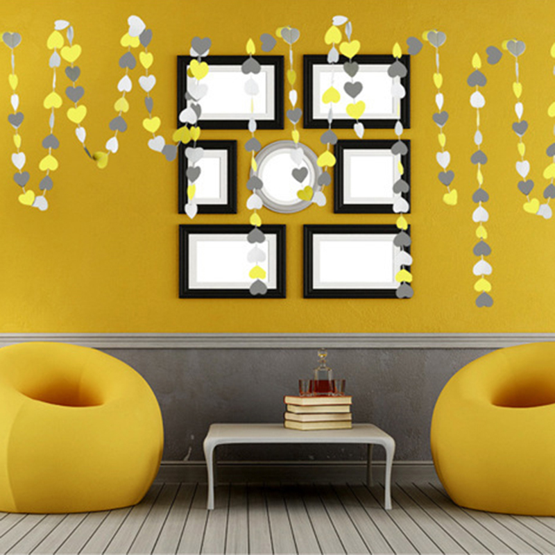 4m Heart Long Paper Garland Ornaments Curtain Wall Birthday Party ...