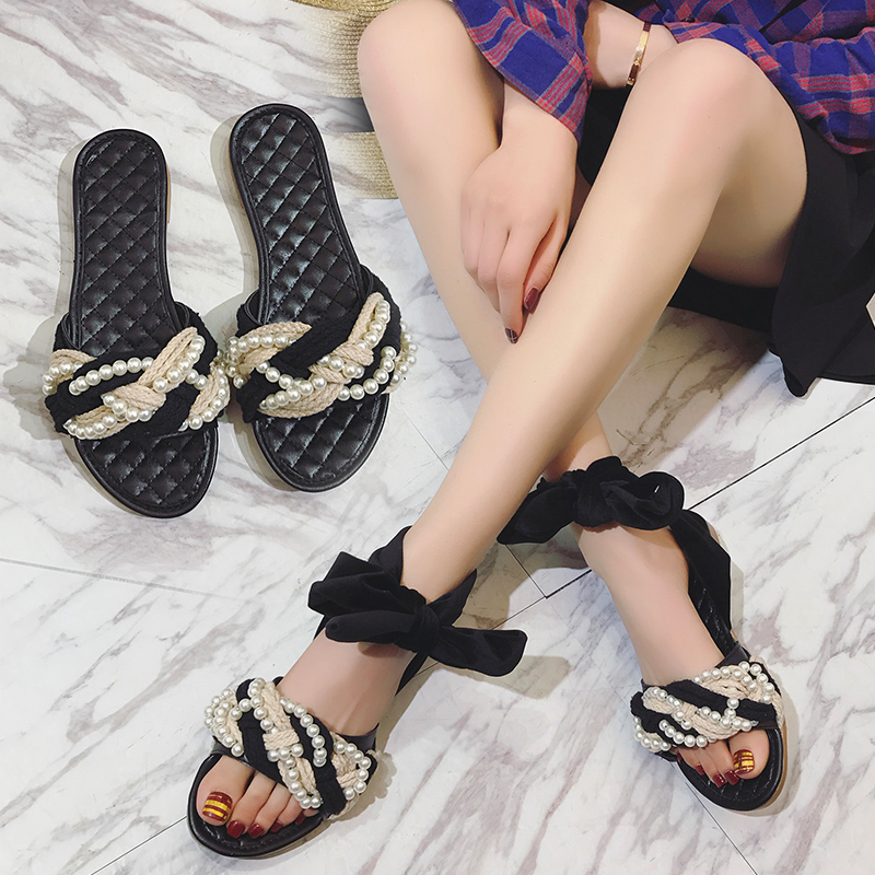 women sandals low heels women shoes female slippers sandals summer fashion casual bead lace up beach outdoor sandals women 2018