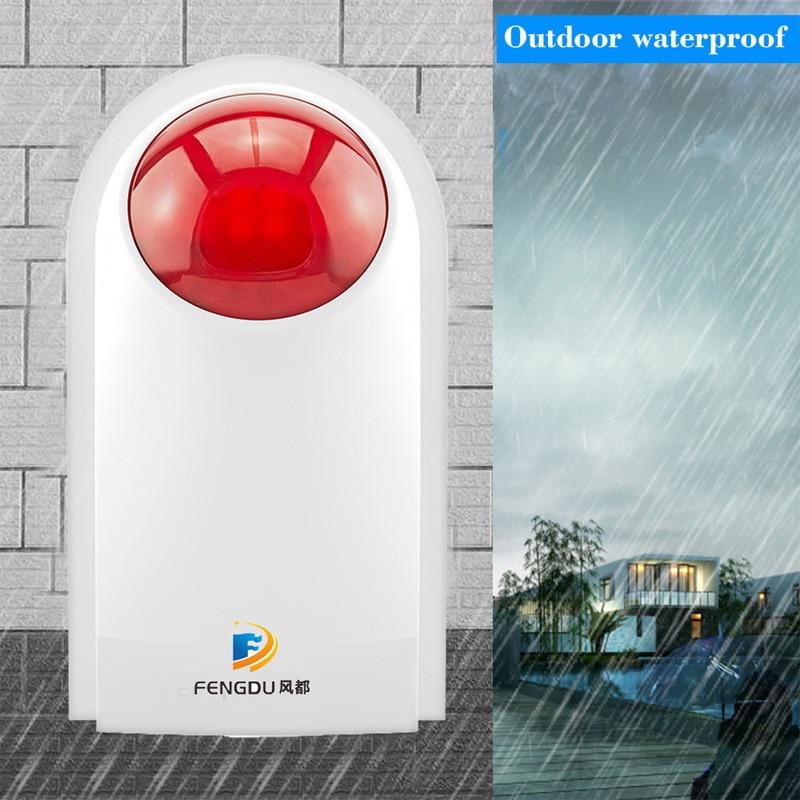 110dB Indoor Outdoor Waterproof Wireless 433mhz Flashing Siren Strobe Light Siren For Home Alarm Security System