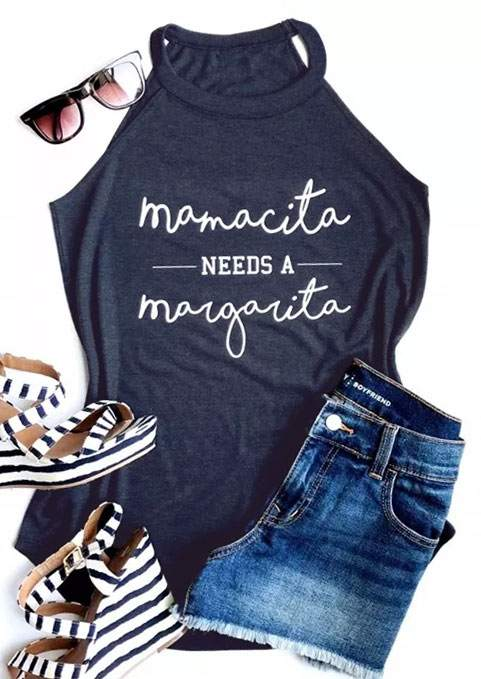 Débardeur hauts femmes été Mamacita maman A besoin d'un Margarita Haut Femme sans manches Punk T-shirt rave festival gilet Streetwear bleu