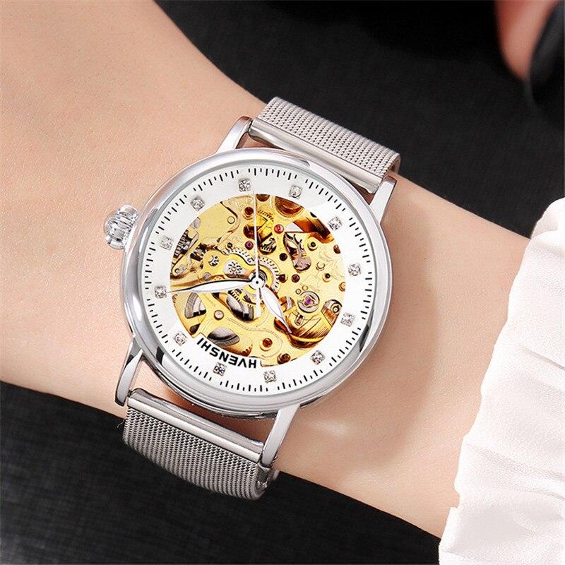 Top marque femmes automatique montre mécanique classique dames en acier squelette horloge mode femmes Bracelet montre dames montres-in Bracelets de montres femme from Montres    3