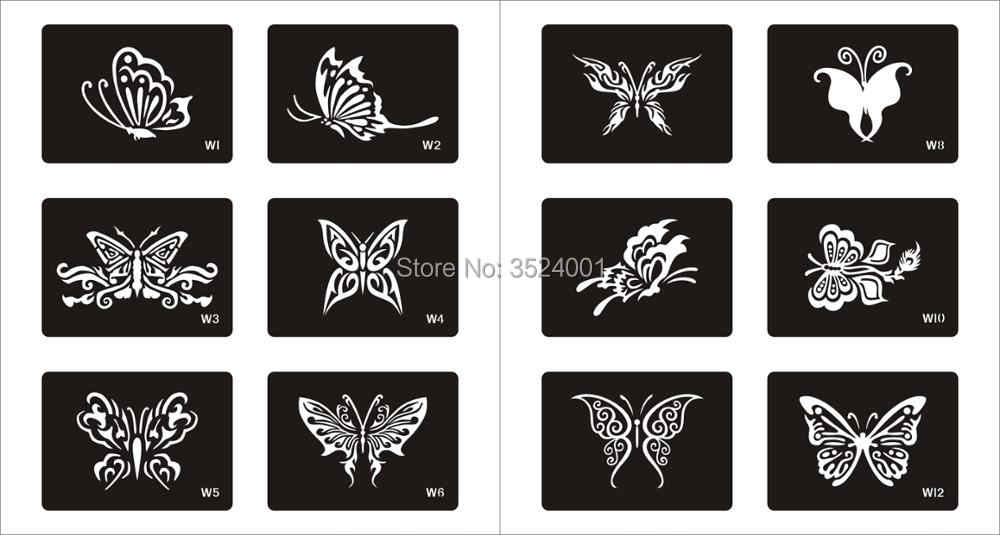 6ab785635384b ... New 120 Designs Glitter Tattoo Stencil Drawing For Painting Airbrush Tattoo  Stencils For Temporary Henna Templates ...