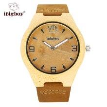 IBigboy Madera Relojes de Los Hombres Reloj de Las Mujeres De Bambú Natural Caso Elegante Correa de Cuero Reloj de Cuarzo Reloj de Pulsera Para Hombres 2016 NUEVO