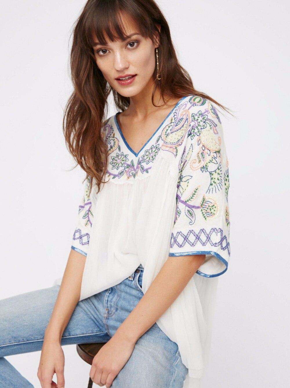 À Femmes Col Lâche 2017 Courtes Gens Sexy Huan Shirt Blanc De Bohême Doux shirt D'été V T Tops Cru Manches T Broderie qing qtWTg