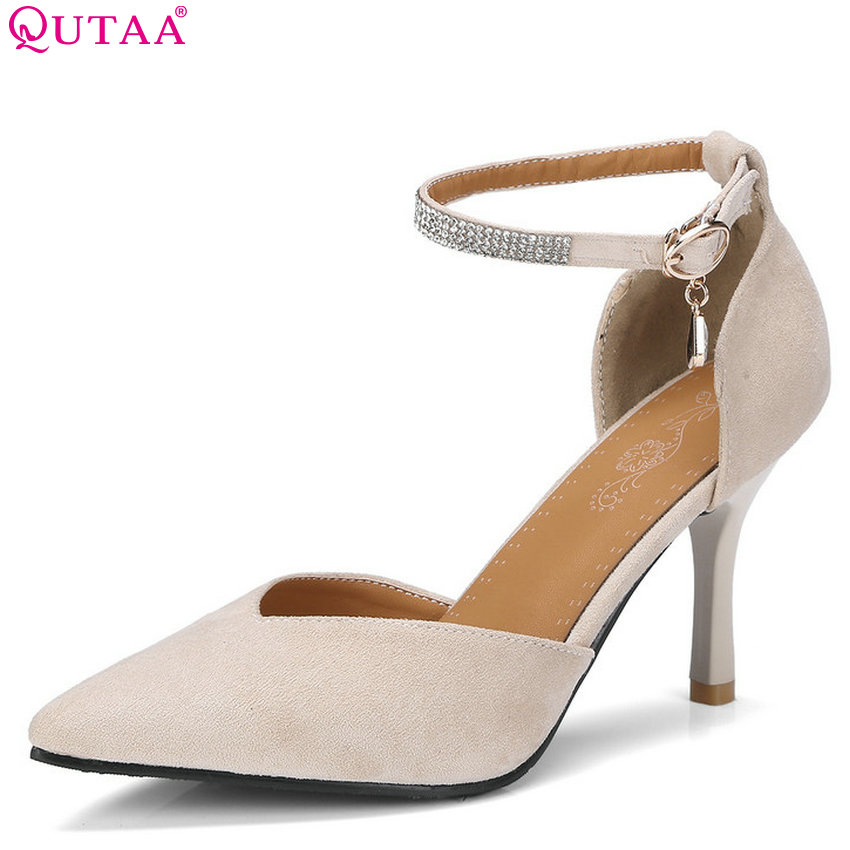 QUTAA 2018 Women Pumps Platform Buckle Women Shoes Two-piece Fashion Thin High Heel Flock Ladies Wedding Pumps Size 34-43 newest solid flock high heel pumps woman