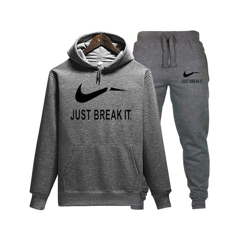 Hip Hop Brand LOGO Printing Men's Hooded Hoodie Comfortable Casual Cotton Hoodie + Jogging Sports Pants 2019 New Men's Clothing
