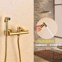 Tuvalet Sprey Soğuk Mikser Vana ile Hortum El Taşınabilir El Düzenlenen Bide Titanyum altın Avrupa antika musluk yıkama