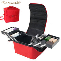 DINIWELL Women S High Quality Waterproof Tattoo Nail Toolbox Storage Professional Beauty Zipper Portable Cosmetic Bag