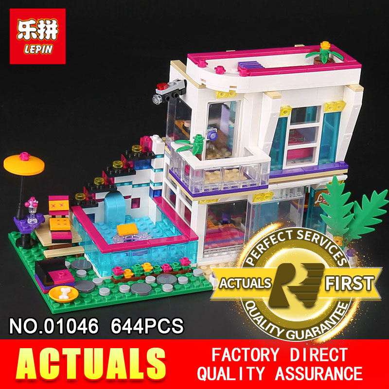 Lepin 01046 644Pcs Genuine Girl Series The Pop Star House Set 41135 Building Blocks Bricks DIY Toys Model For Children gifts the girl with all the gifts