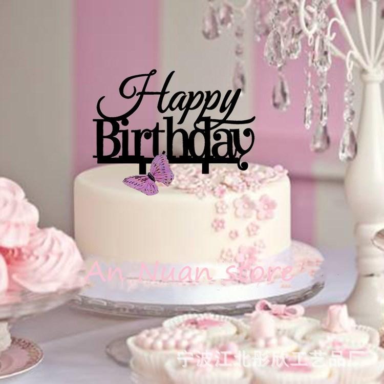 Happy Birthday Cake Topper Acrylic Elegant Birthday Party