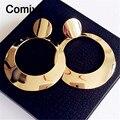 Comiya piercing oro color plata Espejo decoración cuelga el pendiente brincos grandes pendientes de gota largos para las mujeres boucle d'oreille