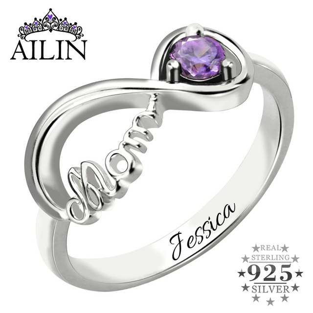 Ailin Infinity Birthstone Ring Mothers Ring Engraved Name Ring In