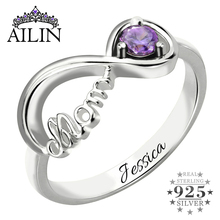 infinity mothers ring. infinity birthstone ring mother\u0027s engraved name in sterling silver symbol gift for mom mothers