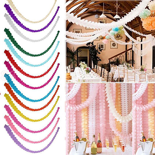 3 Meters Paper Garland Bunting Banner Streamers Birthday Wedding Party Home Decoration Bunting Paper Garland Hanging Decoration