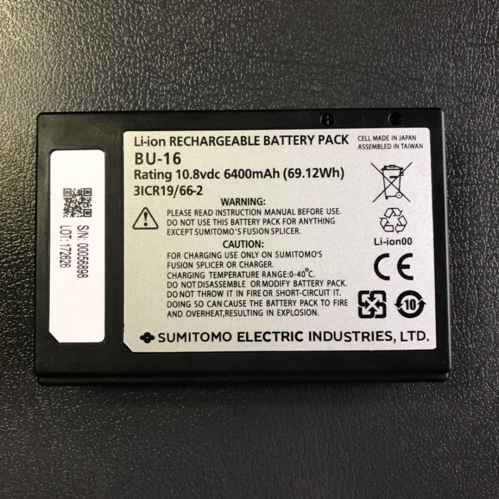 Original Sumitomo BU-16 lithium battery for T-72C T-71C+ T-82C fiber fusion splicerOriginal Sumitomo BU-16 lithium battery for T-72C T-71C+ T-82C fiber fusion splicer