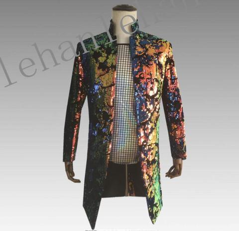 Médio e Longo Seção de Veludo Impressão Flip Sequin Roupas Homens Ternos Jaqueta Blazer Dança Palco Cantores Estilo Estrela Vestido