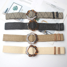 New Vintage Knitted Wax Rope Wooden Bead Waist Women Smooth Buckle Belt Woman Woven Female Hand-Beaded Braided BZ52