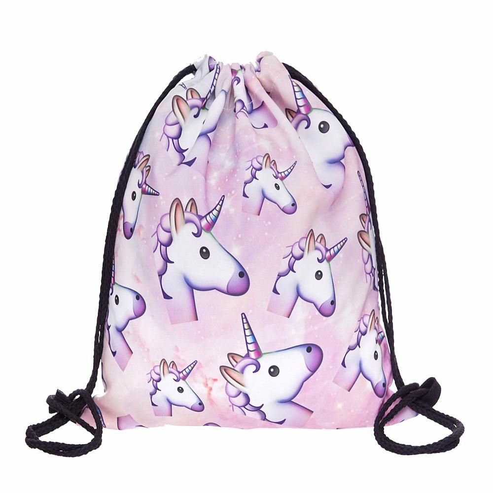 Pink unicorn small Backpack women 3D printing travel softback men mochila drawstring bag School girls backpacks sac a dos