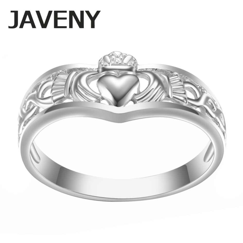b60ad45de3 925 Sterling Silver Simple Plain Irish Claddagh Promise Engagement Bridal Wedding  Rings for Women Birthday Christmas