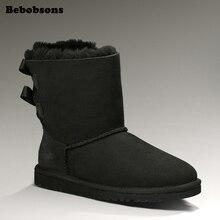 Pour Femme véritable peau de mouton en cuir 3 Bailey Bouton Mi-Mollet Bottes Chaussures Taille 5-afficher le titre d'origine