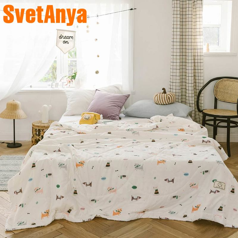 Svetanya Pets print Quilt Cotton bedding Throws Blanket no Pillowcase