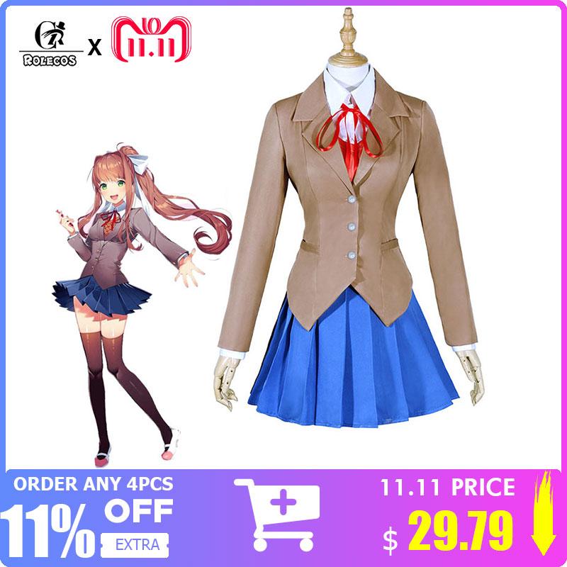 ROLECOS Doki Doki Literature Club Monika Cosplay Sayori Yuri Natsuki Cosplay Costume School Uniform Girl Women Costume Game Cos цена 2017