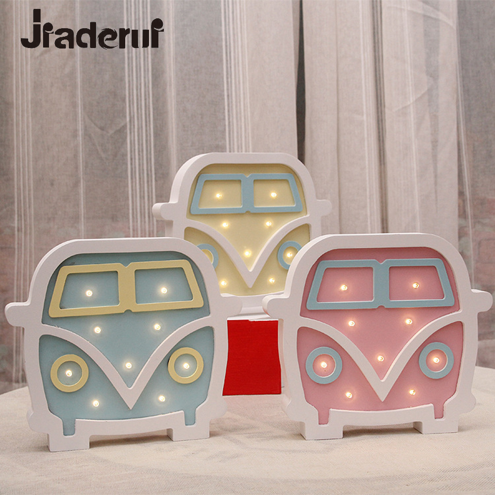 Jiaderui Cartoon Car Led Night Light Baby Bedside Lamp Kids Gifts Wall Desk Lamp Bedroom Living Room Home Indoor Decoration Lamp