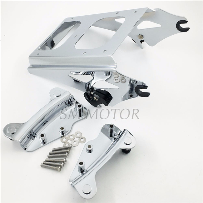 Motorcycle Chrome 4 Point Docking Hardware Kit w/ Luggage Rack For Harley Touring Electra Glide Road king street Glide 09-13 motorcycle chrome luggage rack for harley touring road king street glide cvo road glide street electra glide flhr 2009 2017 16
