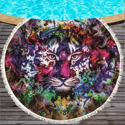 Peace by JoJoesArt Round Beach Towel Large for Adults Tigers Printed Microfiber Toalla Tassel Black White Blanket Yoga Mat