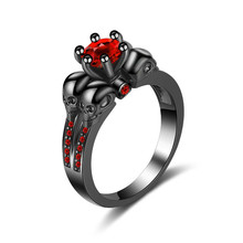 jingyang Gothic Skull Style Ring Red Crystal Zircon Black gold Female Rings For Women Girls Skeleton Jewelry Gift Dropshipping
