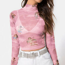 Angel Print Mesh Sexy T Shirt Crop Top High Neck Long Sleeve