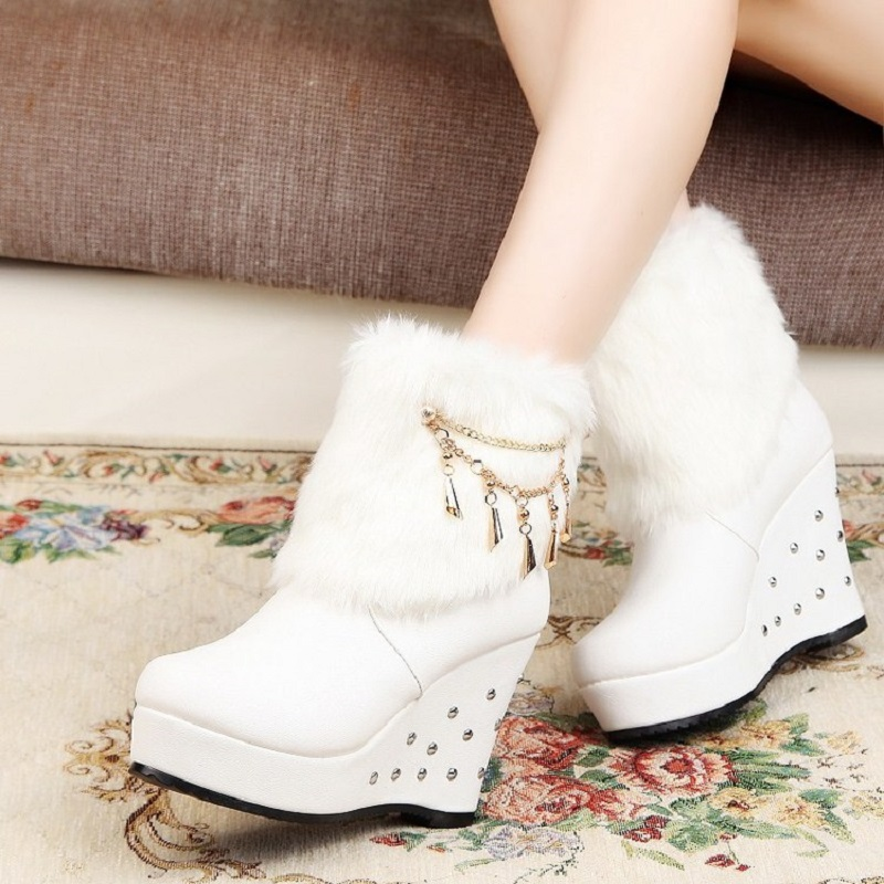 ce20ea4e288 2015 New Style Women Winter Ankle Boots Faux Fur Wedge Boots Platform Brand  High Heel Fashion Boots X792 5