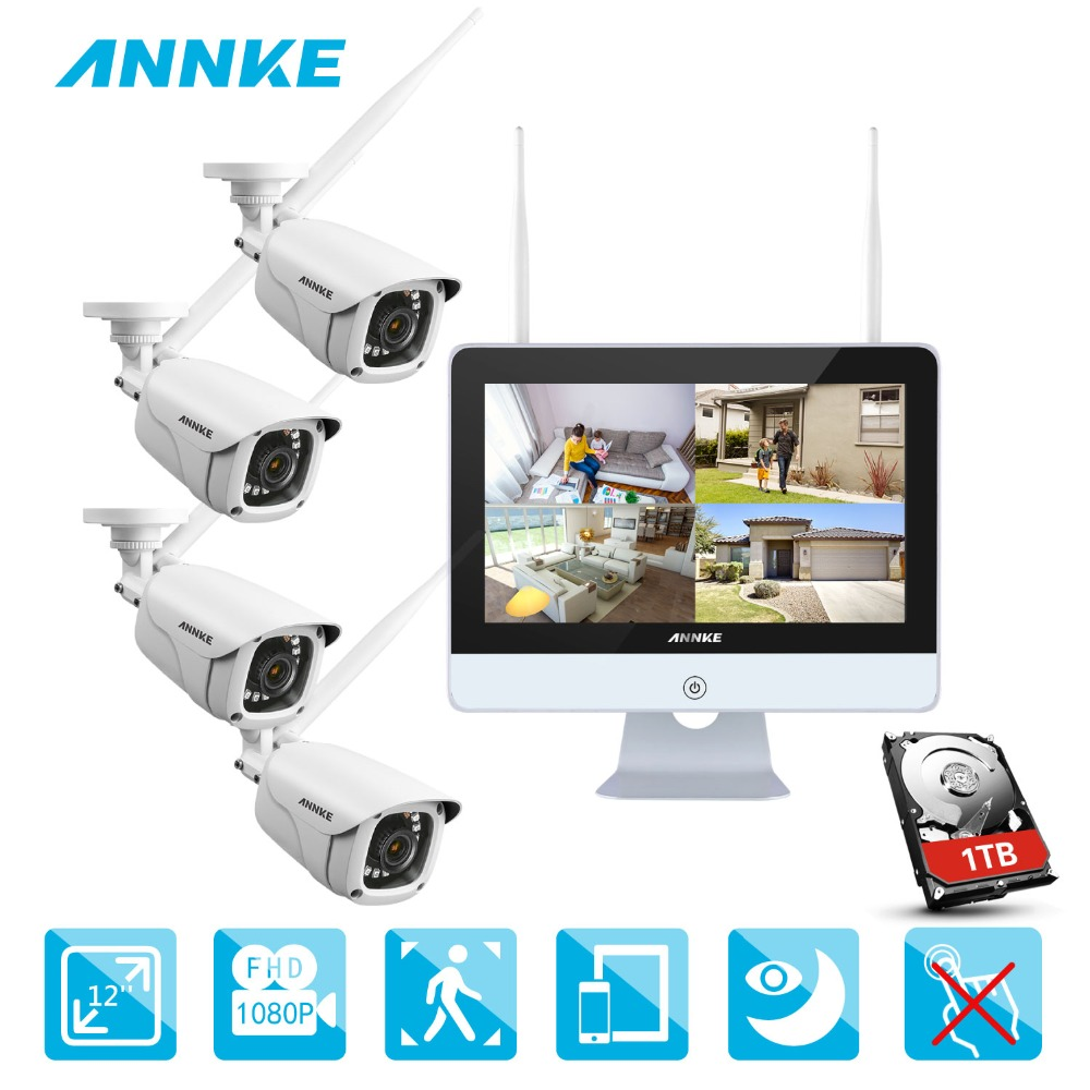 ANNKE 4CH 1080P HD WiFi Wireless NVR Video Surveillance System 12inch LCD Screen Automatic Screen Saver 1080P Bullet IP CamerasANNKE 4CH 1080P HD WiFi Wireless NVR Video Surveillance System 12inch LCD Screen Automatic Screen Saver 1080P Bullet IP Cameras
