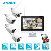 ANNKE 8CH 1080P HD WiFi Wireless NVR Video Surveillance System 12inch LCD Screen Automatic Screen Saver 1080P Bullet IP Cameras