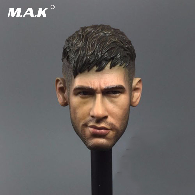 """Football Star Male Head Sculpts 1/6 Scale Barcelona Neymar Head Carving Model Toys For 12"""" Action Figure Body   Accessory"""