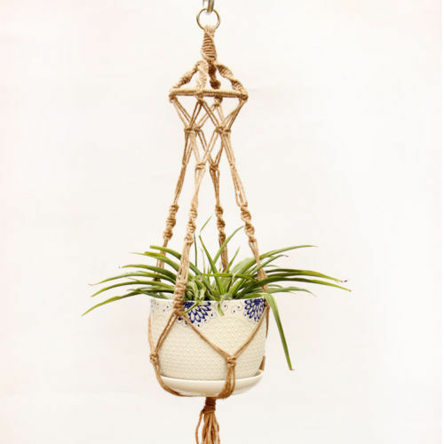 Image 4 - Hot Sale Hanging Baskets Macrame Plant Hanger Flower Pot Holder Hanger Wall Decoration Countyard Garden Jute Rope Braided Craft-in Hanging Baskets from Home & Garden