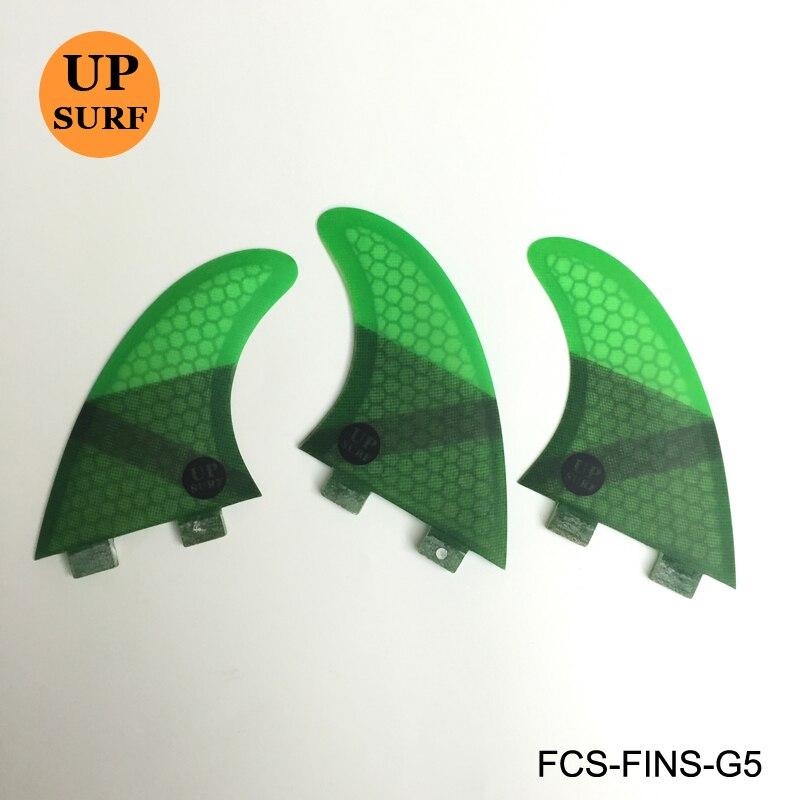 FCS FIN G5 Tri fin set FCS G5 M Tamaño panal de fibra de vidrio verde negro rojo azul aleta
