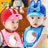 2016 New Style Kids Cap Set Peaked Cap Bib With MAGIC TAPE Peaked Cap Sunhat Baseball