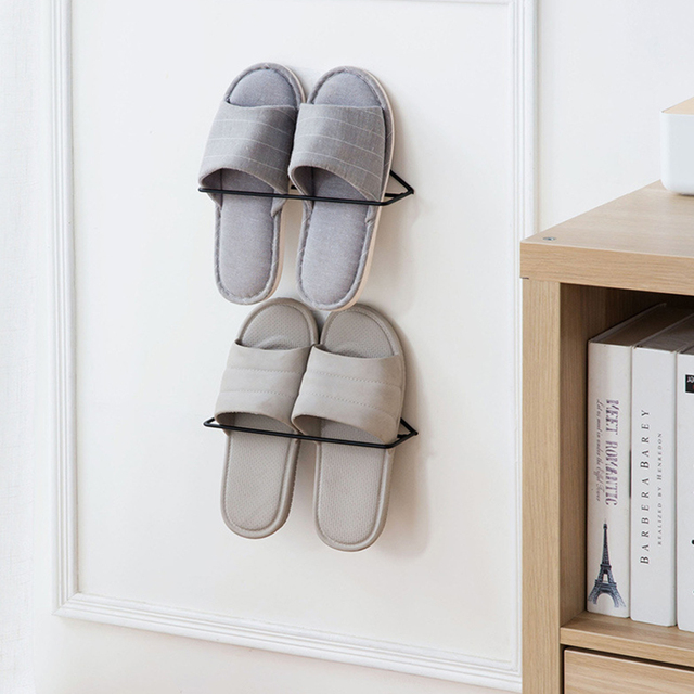 Us 2 72 49 Off New Wall Mounted Shoes Shelves Rack Storage Hanging Shoe Organizer Metal In Racks Organizers From Home Garden On