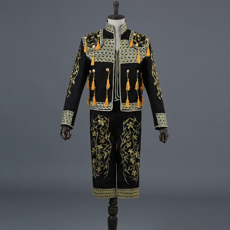 Gold Embroidery Tassel Sequin Black 3 Piece Stage Suit(Jacket+Pants+Vest) Men Bullfight Dance Singer Suit Blazer Matador Costume