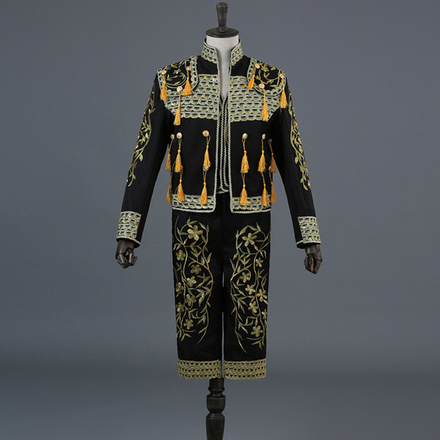 Gold Embroidery Tassel Sequin Black 3 Piece Stage Suit(Jacket+Pants+Vest) Men Bullfight Dance Singer Suit Blazer Matador Costume