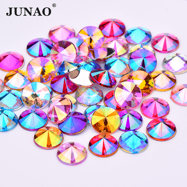 JUNAO 4 5 6 10mm Mix Color Face Crystals Nail Rhinestone Round AB Crystal  Stones Flatback Acrylic Gems Scrapbook Beads for Dress b1000d3d55ea