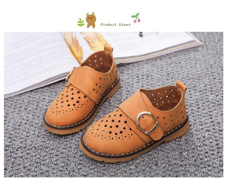 Summer Children Shoes PU Leather Sport Shoes Buckle Strap Child Casual Kids Shoes For Girls Cut-Outs Martin Baby Boys Sneakers 11
