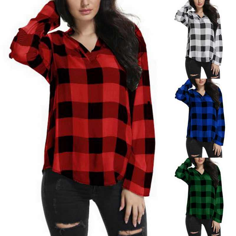e700f4f3bd ... Laamei Women Plaid Shirts Spring Long Sleeve Blouses Shirt Office Lady  Cotton Lace up Shirt Tunic ...