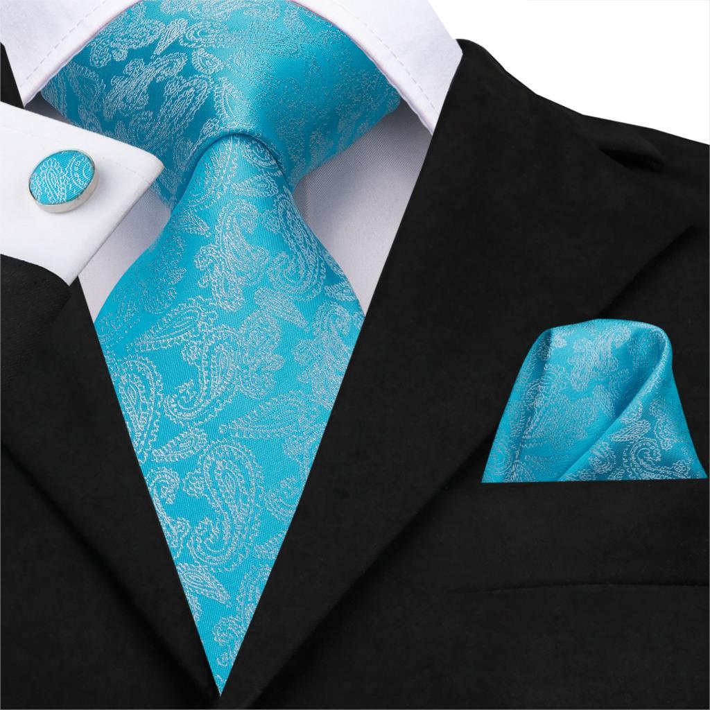 C-3156 2019 Spring Designer Blue Floral Silk Ties For Men 8.5cm Wide Adult Fashion Business Wedding Necktie Hanky Cufflinks Set