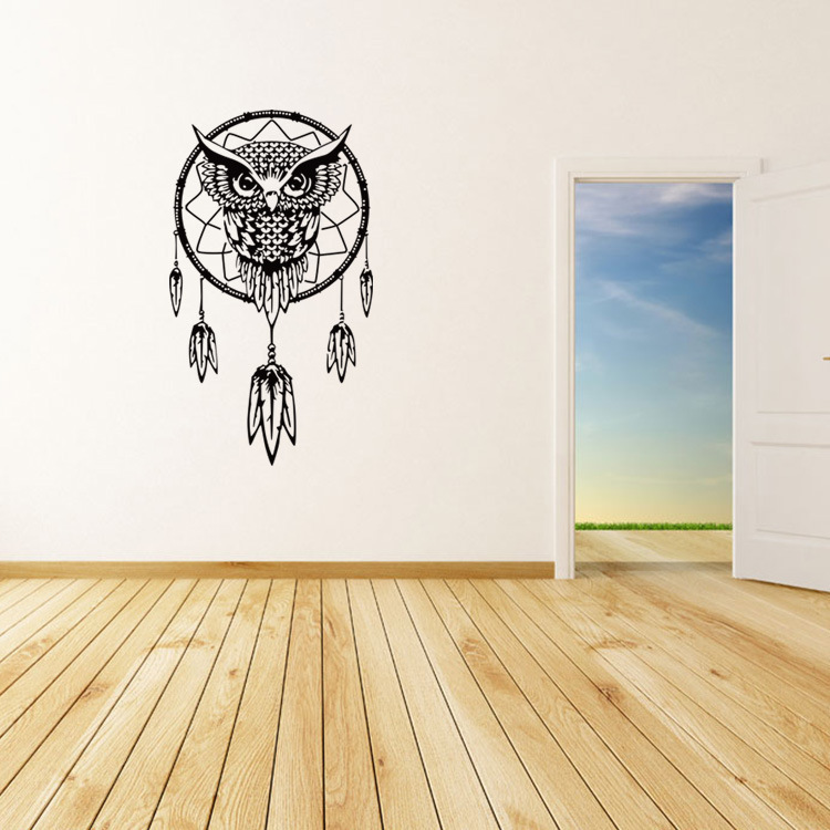 Large Owl Dream Catcher Big Wall Sticker Living Rooms Bedroom Home Decor Office Cafe Stickers Art decal