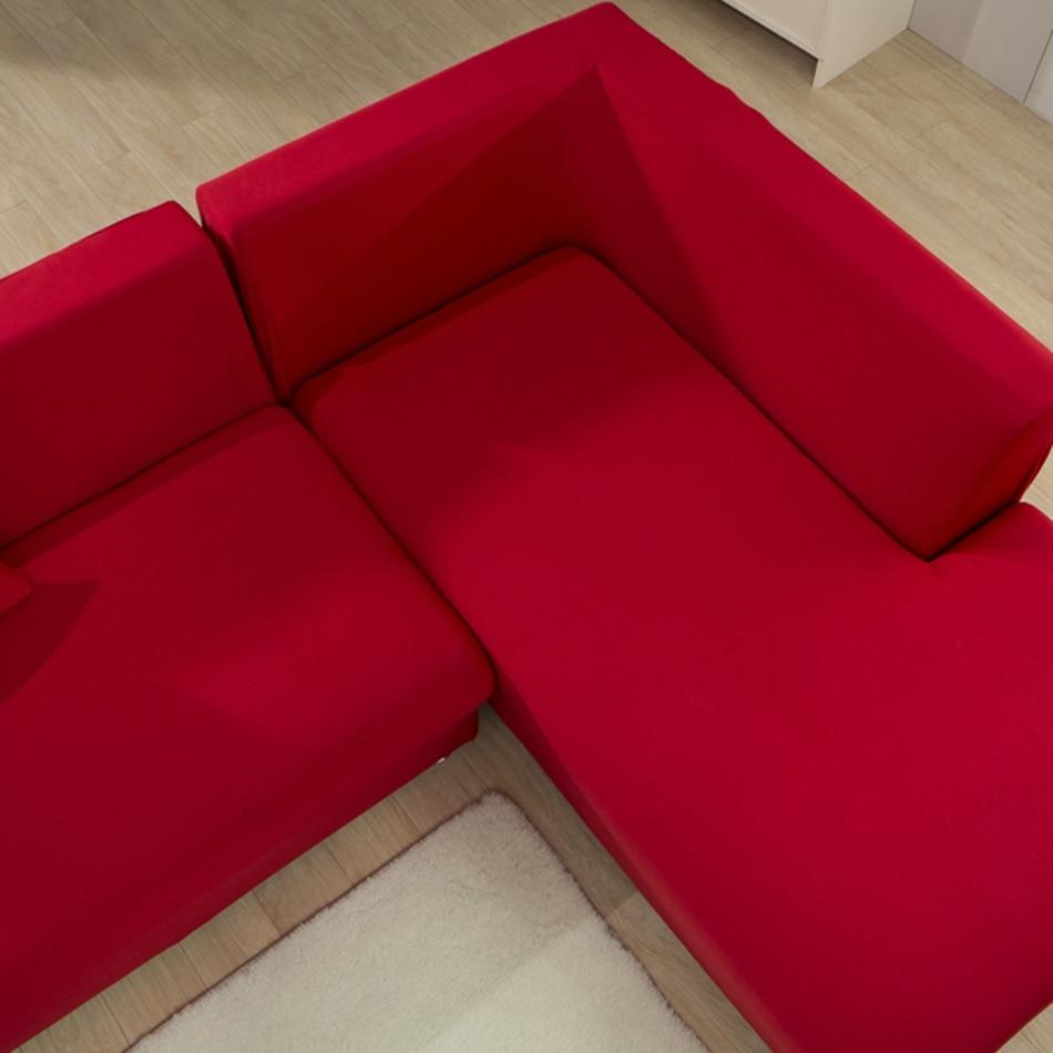 Canapé Multi Couleur dedans rouge solide couleur élastique coin housse de canapé pour le salon