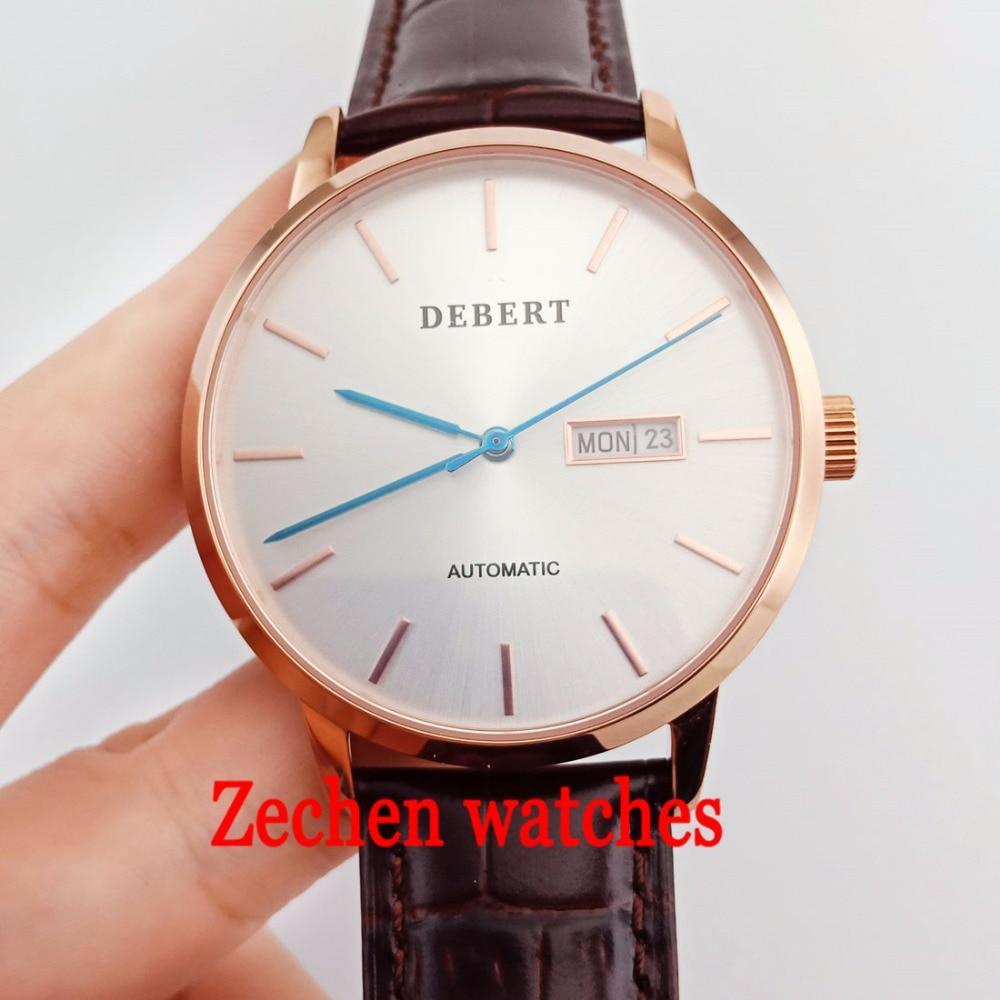 40mm Debert Men's Automatic Mechanical Watch Sapphire Glass Mechanical Watch Fashion Calendar Watch цена и фото