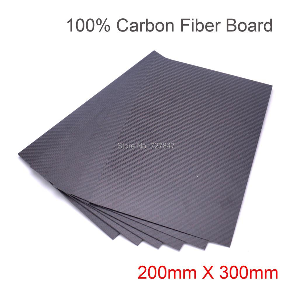 3K Pure Carbon Fiber Board 200mm X 300mm X 0.5mm / 1mm /1.5mm/2mm / 3mm /4mm thickness Carbon Sheets Composite Hardness Material