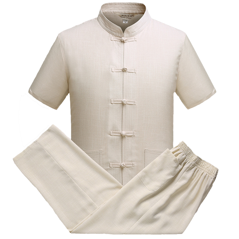 Traditional Chinese Kung Fu Shirt&Pant Loose Mandarin Collar Single Breasted Oriental Men Tang Suit Casual Tai Chi Clothes M-3XL
